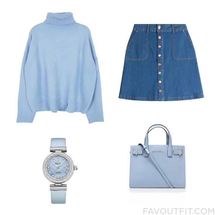 Shopping Advices Including Sweater Blue Skirt Kurt Geiger Tote Bag And Stainless Steel Watch From February 2016 #outfit #look