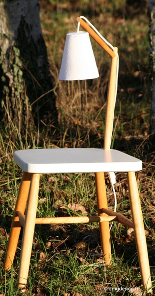 Old spoke chair is transformed to new multifunction item. nightstand + lamp = YöPinna