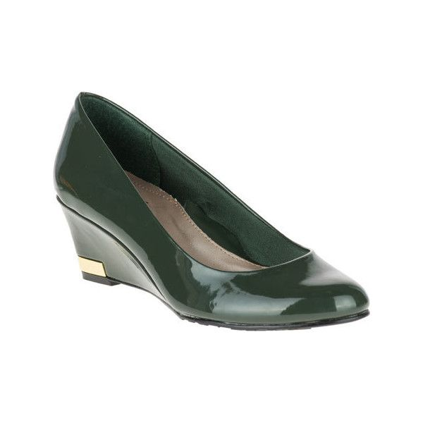 Women's Soft Style Gana Wedge Pump - Rosin Patent Casual ($59) ❤ liked on Polyvore featuring shoes, pumps, casual, patent leather wedge pumps, patent wedge pumps, patent shoes, roll up shoes and wedge pumps
