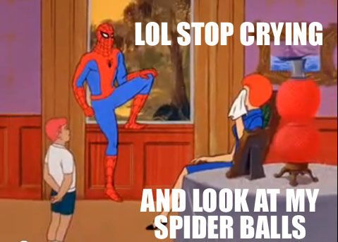 LOOK AT THEM.: Funny Comics, Old Schools, Spiders Ball, Memes Pictures, Schools Memes, Spiderman Memes, Spiders Man, Spiderman Funny, Spidey Memes