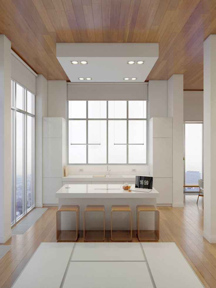 Apartments:Wooden Dining Table Lacquered Wooden Bar Stool Wooden Striped Pattern Ceiling Wooden Striped Pattern Floor Large City Views Glass Wall White Ceiling Lights White Marble Wastafel A Huge Apartment with Charming Simple Interior