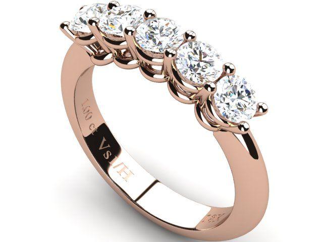 Half Eternity Wedding Diamond Ring ,Rose Gold 18K 1.00 ct Round Brilliant Vs1/H - Paul Jewelry