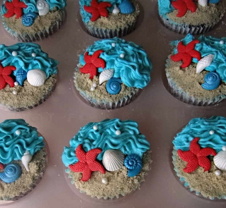 beaCH WEDDING CUPCAKES   Cupcake Ideas With a Beach Theme   Cupcake Ideas For You