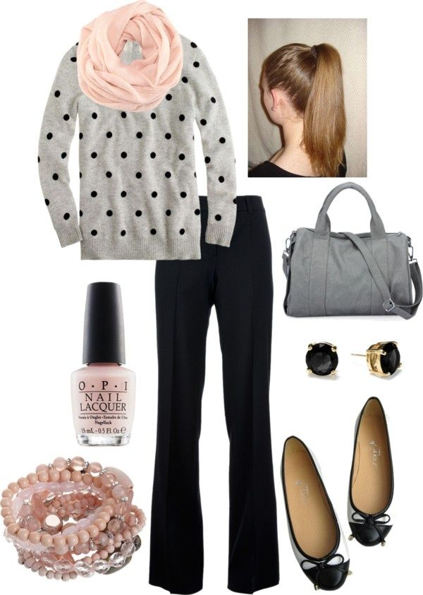 love the spotted sweater and pink accessories