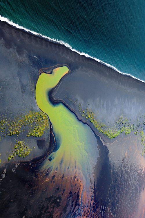 expressions-of-nature: The Peacock / Aerial view of south coast rivers, Iceland.by: Samuel Feron