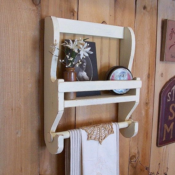 shabby chic farmhouse towel shelf handmade wooden kitchen rack bathroom storage buttermilk color