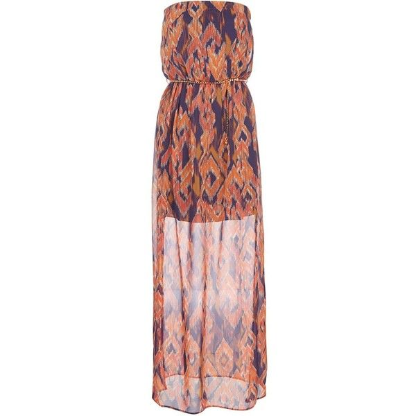Purple and Orange Aztec Print Bandeau Belted Maxi Dress ($38)