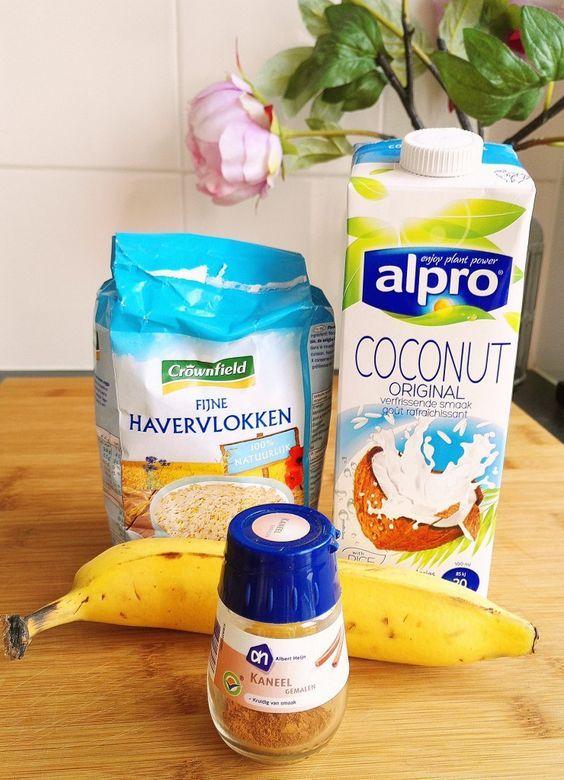 Havermout met banaan uit de oven ingredienten - ontbijtrecept - Wendy's Wondere Wereld
