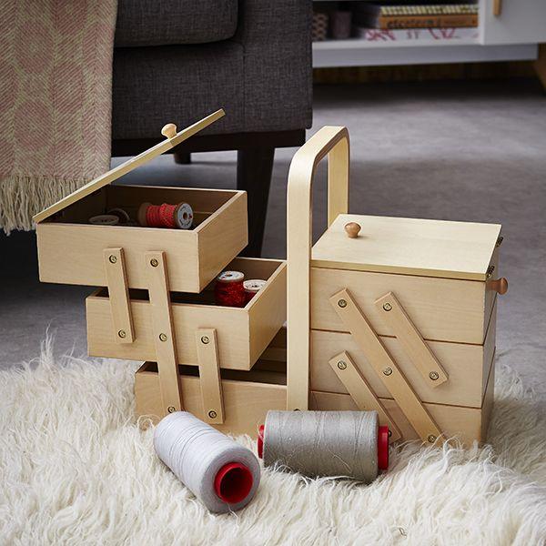 Bo te couture en bois zodio couture rangement boite for Boite a couture en bois