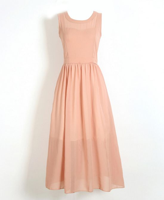 Pure Color High Waist Bowknot String Sleeveless Chiffon Dress