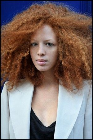 "Coralie Jouhier.... She is soooo pretty..... I want a a quote on quote ""black"" ""ginger"" she is sooooo fabulous.... mom is Senegalese and papa is french"