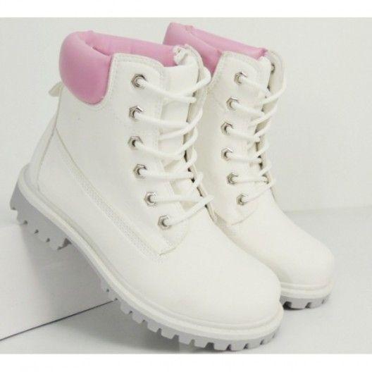 Štýlové dámske workery bielej farby s ružovým okrajom - fashionday.eu