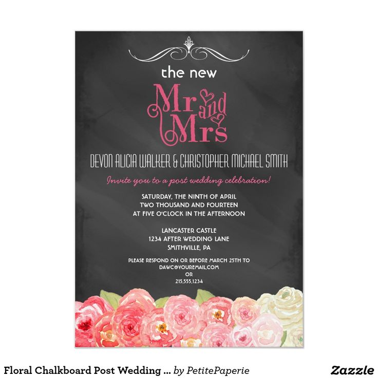 zazzle wedding invitations promo code%0A Floral Chalkboard Post Wedding Party Invitation