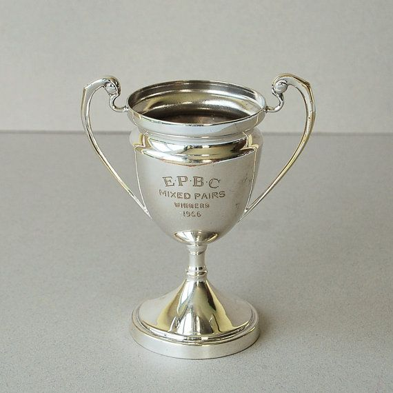 1966 silver plated sports trophy cup Engraved sports от nancyplage