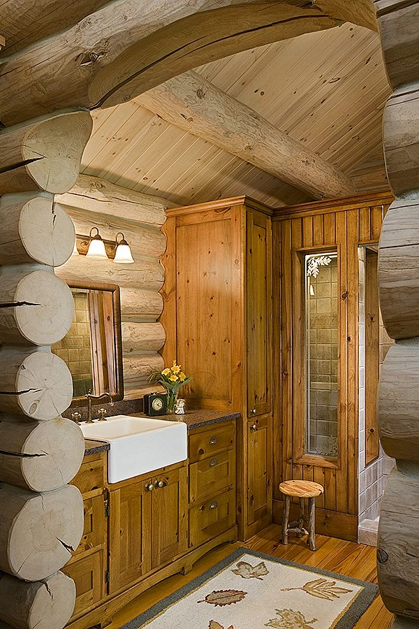 17 Best Images About Log Cabin Bathrooms On Pinterest
