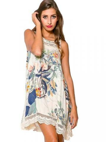 Lace Embellished Floral Sleeveless O-Neck Casual Dress Shopping Online - NewChic