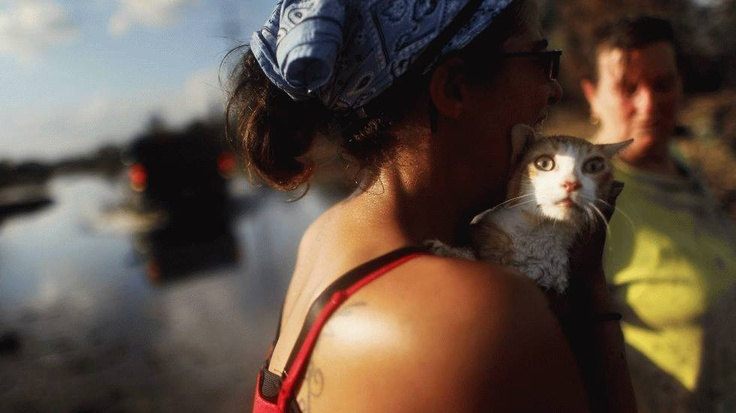 Melanie Martinez (R) looks on as Kala Martinez holds the family cat, which they have renamed Isaac, as they salvage items from their flooded home in Plaquemines Parish in the wake of Hurricane Isaac, September 3, 2012.