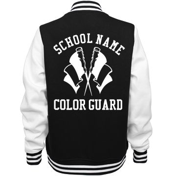 #ColorGuard Girl Jackets | Show your love for your color guard winter guard squad with a custom color guard #varsityjacket. Get one for all the girls on the team. Wear them to competitions and practice.