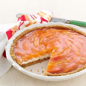 Sunny Peaches & Cream Pie Recipe -Think of this pie as a summer dessert, but don't rule it out for the holidays—with strawberries and strawberry gelatin. —Lorraine Wright, Grand Forks, British Columbia