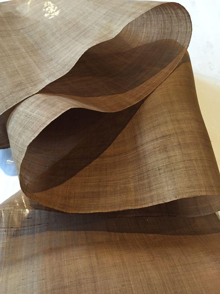 Korean ramie - woven fiber:  hand spun, woven and natural dyed, the most fabulous woven material. Jyminstudio.com