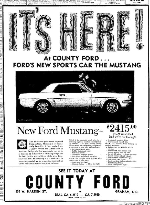 I was four years old when this came out, my Dad was working at this dealership and serviced the first new mustang, County Ford still exists to this day in Graham, NC