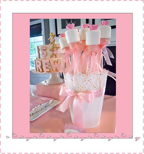Ballerina or Pinkalicious Birthday Party-Make these cute ribbon wands with marshmallows up top.