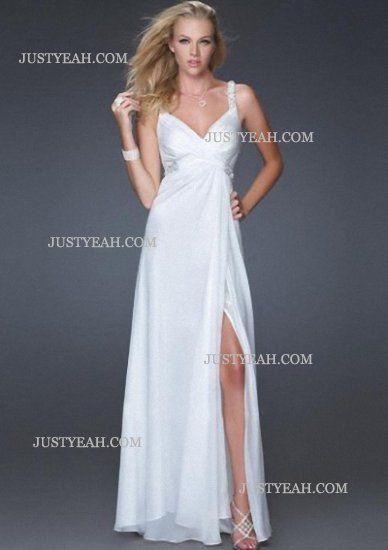 V-neck Floor Length Chiffon White Evening Dresses