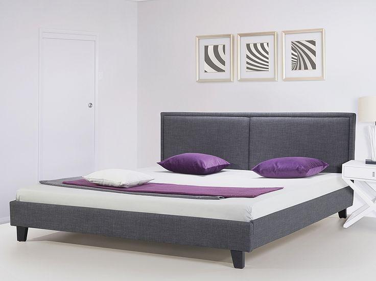Nowoczesne łóżko tapicerowane ze stelażem 140x200 cm szare REVEL