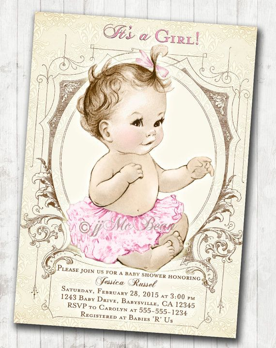 Custom baby shower invitations for your new baby girl Shabby chic theme, made-to-order, DIY printable.