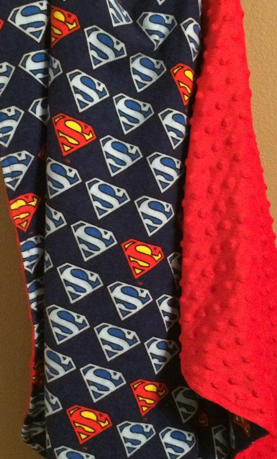 Superman Baby Blanket Superman Blanket Super by maddiekinsdesigns