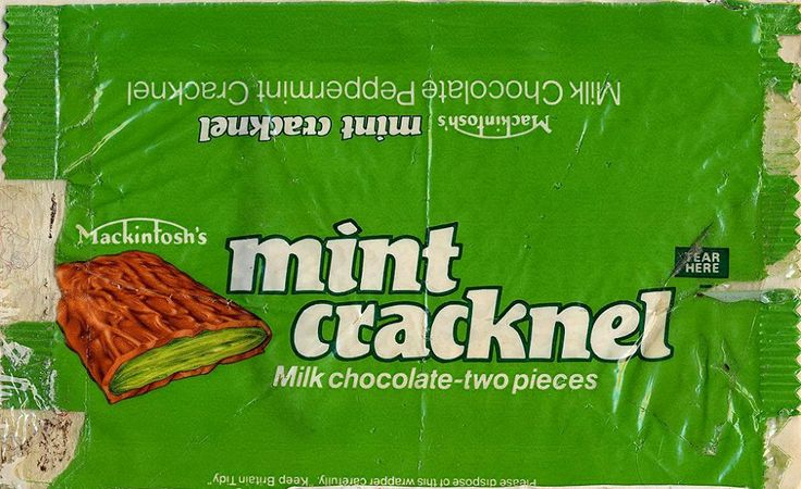 Maxkintosh's Mint Cracknel - remember these? Out about the same time as Swisskit. Thin chocolate bar with a bright green mint centre which was like fibre glass.