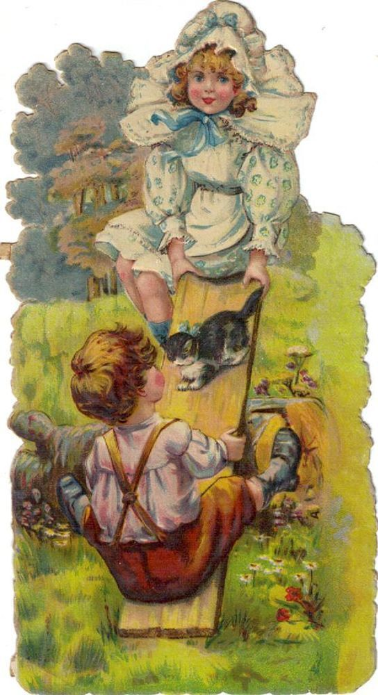 Larger Victorian Die Cut Scrap Boy Girl Kitten on Seesaw R Tuck c1880s