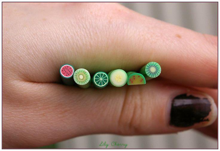 x6 Cane fimo millefiori fruits verts gourmandises kawaii 5cm : Pâtes polymères et accessoires par lilycherry