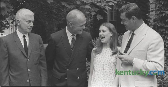 Former astronaut John H. Glenn Jr. was in Lexington May 22, 1967 as a house guest of William T. Young. From left, William T. Young, John H. Glenn, Jr., Lucy Young and Rex Potter.  Glenn, the first American to orbit the earth died yesterday at age 95. He was the the last surviving member of the original Mercury astronauts. He would later have a long political career as a U.S. Senator. Photo by Bill Wilson | Staff