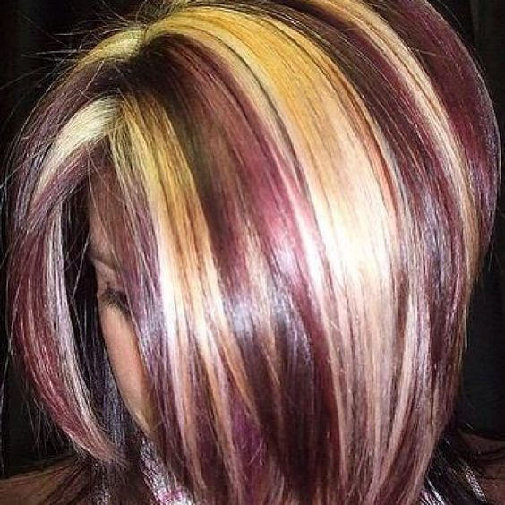 Short hair with chunky highlights