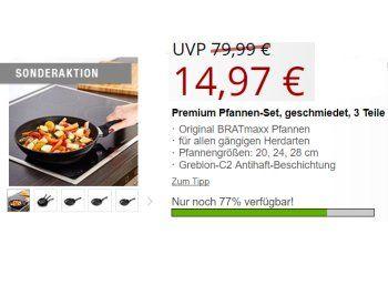Druckerzubehoer.de: Bratmaxx Pfannenset aus drei Teilen für 19,94 Euro frei Haus https://www.discountfan.de/artikel/essen_und_trinken/druckerzubehoer-de-bratmaxx-pfannenset-aus-drei-teilen-fuer-1994-euro-frei-haus.php Ein dreiteiliges Pfannenset von Bratmaxx ist jetzt beim Tintendiscounter Druckerzubehoer.de zum Schnäppchenpreis von 19,94 Euro mit Versand zu haben. Kostenlos dazu gibt es zwei weitere Artikel. Druckerzubehoer.de: Bratmaxx Pfannenset aus drei Teilen für 19