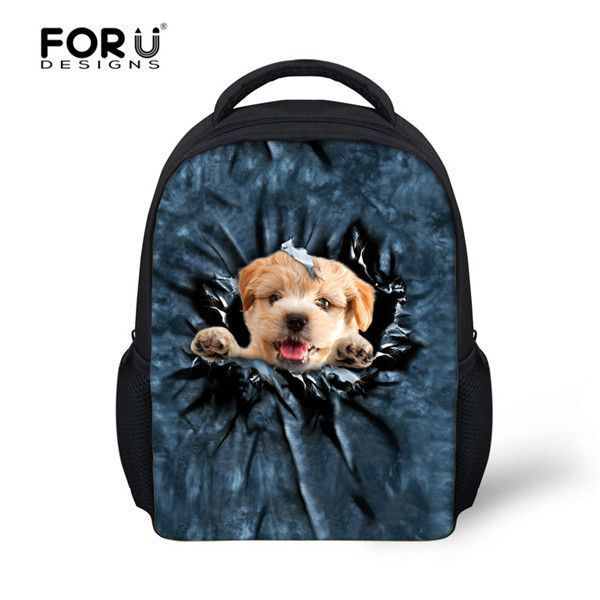 FORUDDESIGNS 12 inch Children School Bags For Girl Boy Cute 3D Cat Schoolbag  Mochilas Kids Kindergarten 3d575bf08f945
