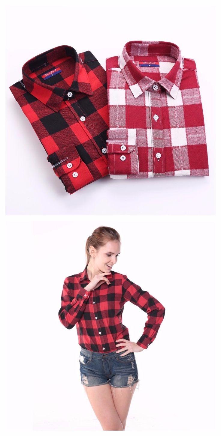 Woollen Tops Long Sleeve Plaid Shirts For Women