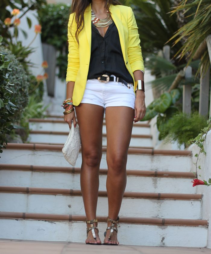 Yellow, Black and White combo shorts blouse and blazer. Summer outfit