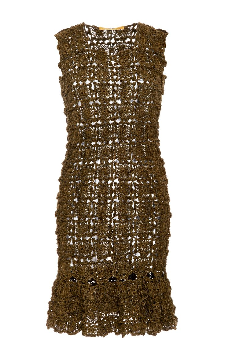 Olive Fit And Flare Marlyn Dress by Vanessa Montoro for Preorder on Moda Operandi