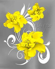 Elegance-Yellow Home Decor Picture Wall Art Floral Bedroom-Living Room-Kids v