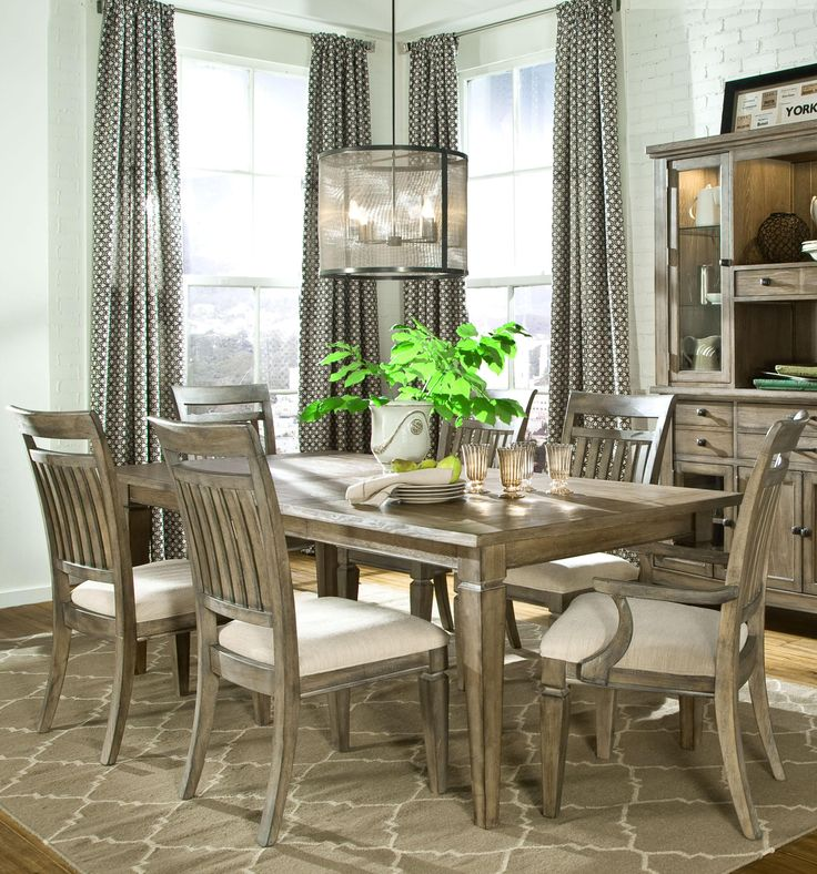 Brownstone Village 7 Piece Leg Table And Slat Back Chairs Set By Legacy Classic Rustic Dining Room
