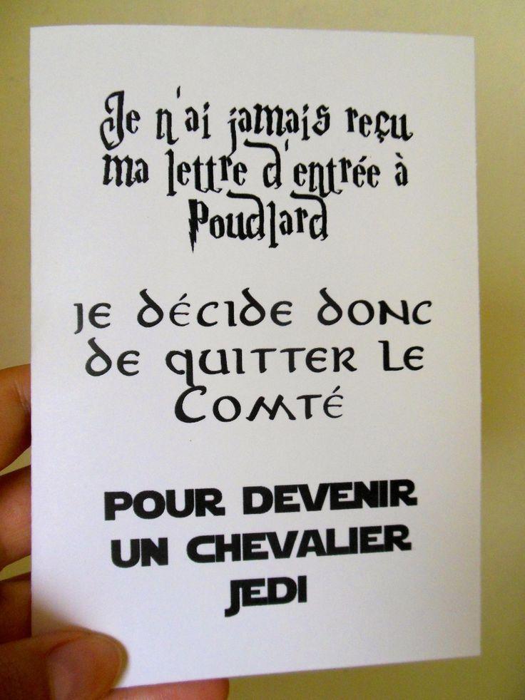 Humor & quotes   QUOTATION – Image :    As the quote says – Description  Carte humour geek – Harry Potter, Seigneur des Anneaux, Star Wars : Cartes par geekygadget    - #FunnyQuotes