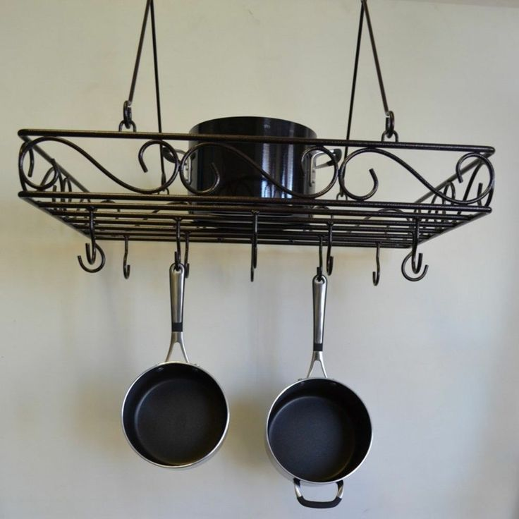 Wire scrolled wrought iron pot rack pans holder storage Pot and pan rack