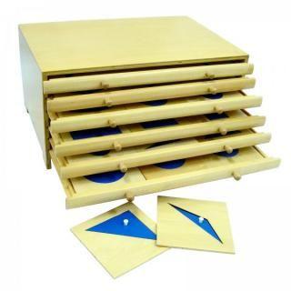 Komoda Geometryczna MONTESSORI Komoda geometryczna składa się z sześciu szuflad oraz zawiera 35 geometrycznych kształtów i ramek (6 okręgów, 6 prostokątów, 7  trójkątów, 6 regularnych wielokątów, 4 figury krzywoliniowe, 6 czworokątów i 1 miejsce puste)