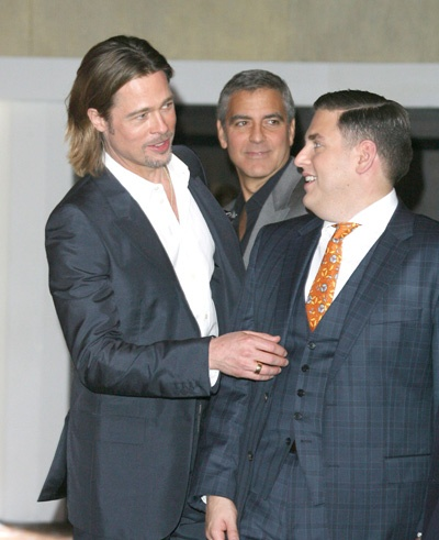 Brad Pitt, George Clooney and Jonah Hill at Academy Awards luncheon: George Clooney, Luncheon Celebrities, Awards Luncheon, Man Stuff, Pin, Brad Pitt, Academy Awards, Jonah Hills, Art Brad