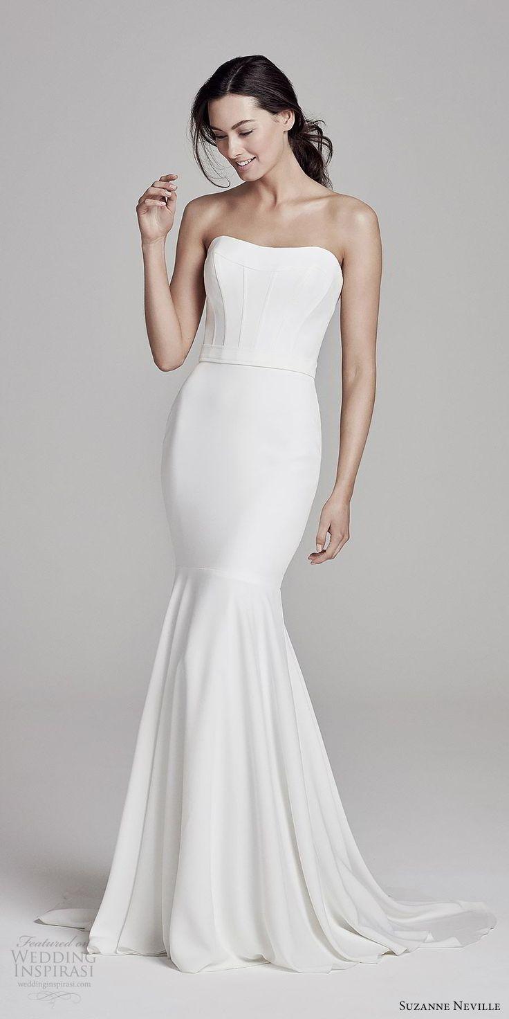Suzanne Neville Bridal 2019 Strapless Semi Sweetheart Minimally Embellished Mermaid We Suzanne Neville Wedding Dresses Wedding Dresses Designer Wedding Dresses