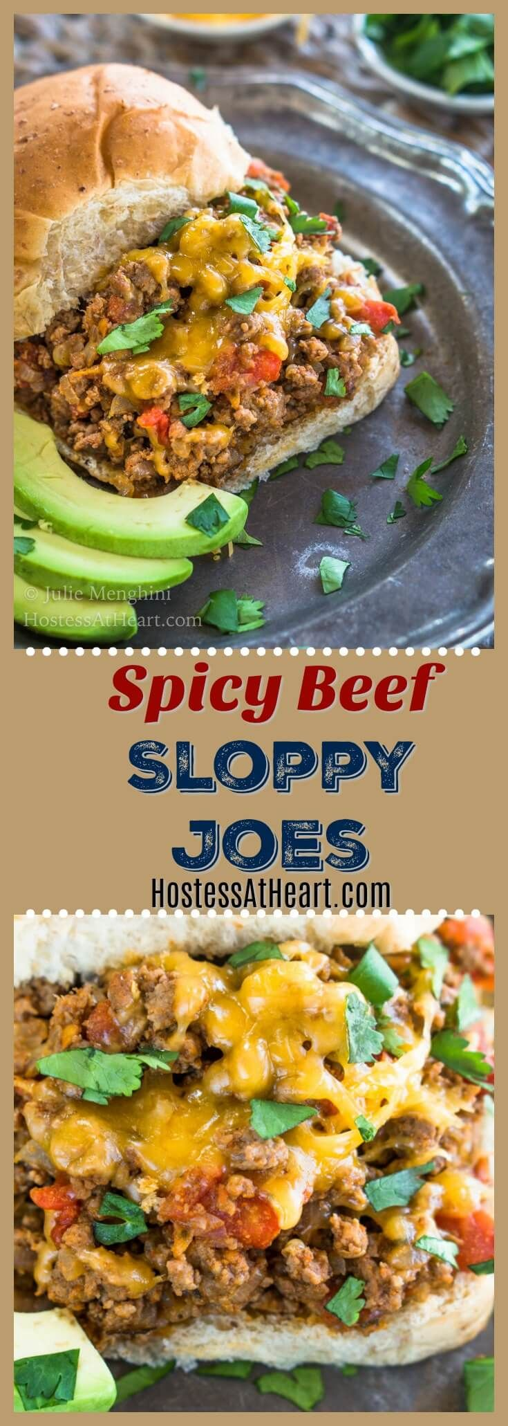 These Spicy BeefSloppy Joes can be made as spicy as you like. Be sure to grab a fork because you're going to want to pile on this filling. #MexicanFood #TacoTuesday #sloppyjoes #GroundBeef #EasyDinner |Homemade Sloppy Joes | Best Sloppy Joes | Easy Sloppy Joe Recipe via @HostessAtHeart