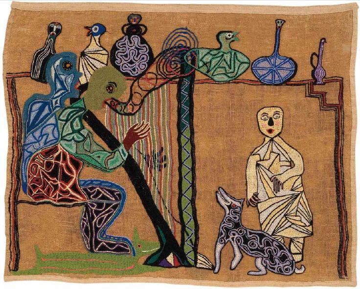 La cantante calva. 1960. 138 x 173 cm. Yute bordado con lanigrafía. Fundación Violeta Parra.