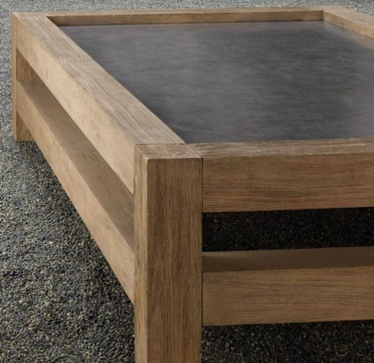 Wood and concrete table.